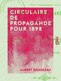 Circulaire de propagande pour 1892, POUR L'ÉTABLISSEMENT D'UNE UNION MÉDITERRANÉENNE