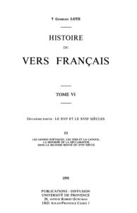 Histoire du vers français. TomeVI