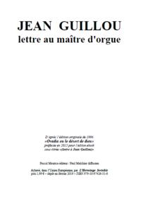 Jean Guillou, lettre au maître d'orgue